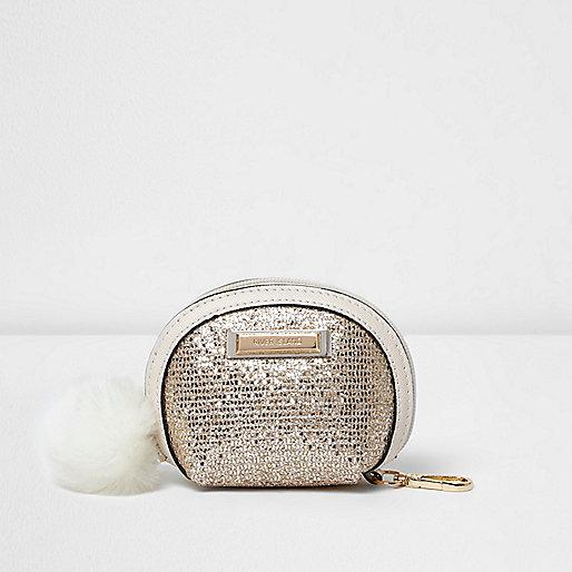 Gold glitter pom pom purse
