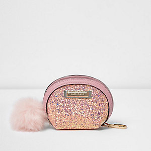 Pink glitter pom pom purse
