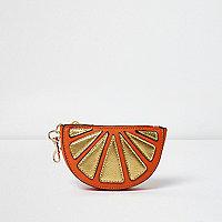 Metallic half orange keyring purse