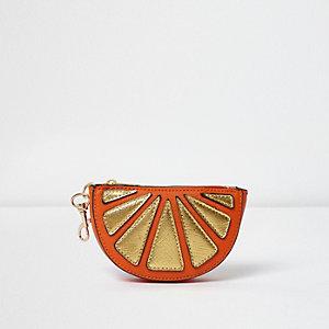 Metallic sleutelhanger/portemonnee in vorm van halve sinaasappel