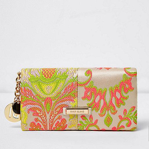 Cream jacquard foldover purse