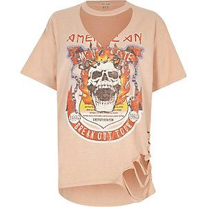 Orange skull print cut out T-shirt