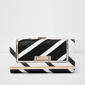 Black mono stripe clip top purse