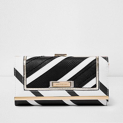Black mono stripe clip top purse