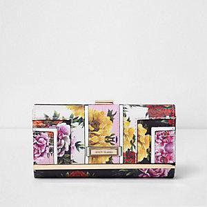 Porte-monnaie rose à empiècement à fleurs et fermoir clip