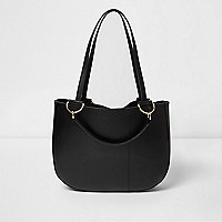 Black leather curved base tote bag