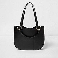 Black leather curved base tote bag