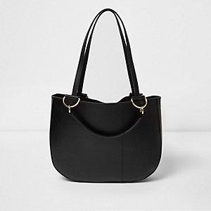 Zwarte leren handtas met ronde vorm