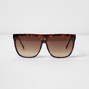 Brown tortoiseshell flat brow sunglasses