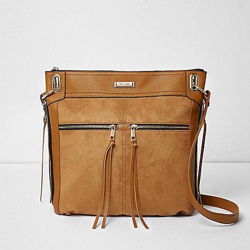 Tan zip front cross body messenger bag