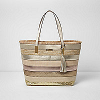 Gold metallic woven straw beach tote bag