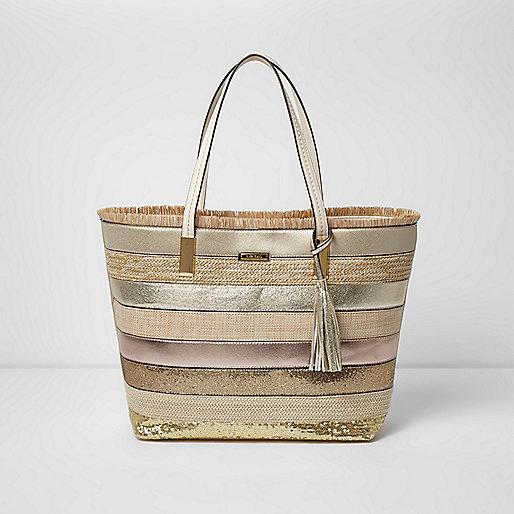 Gold metallic woven straw beach tote bag