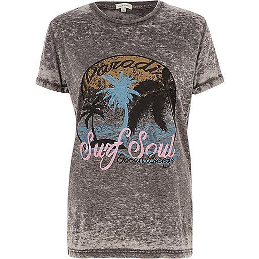 Grey paradise print burnout boyfriend T-shirt