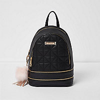 Black quilted mini backpack