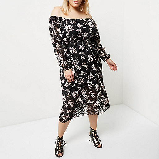 Plus black floral print bardot dress
