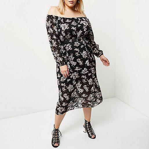 Plus black floral print bardot dress