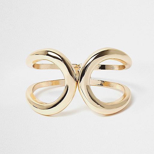 Gold swirl clamp bracelet