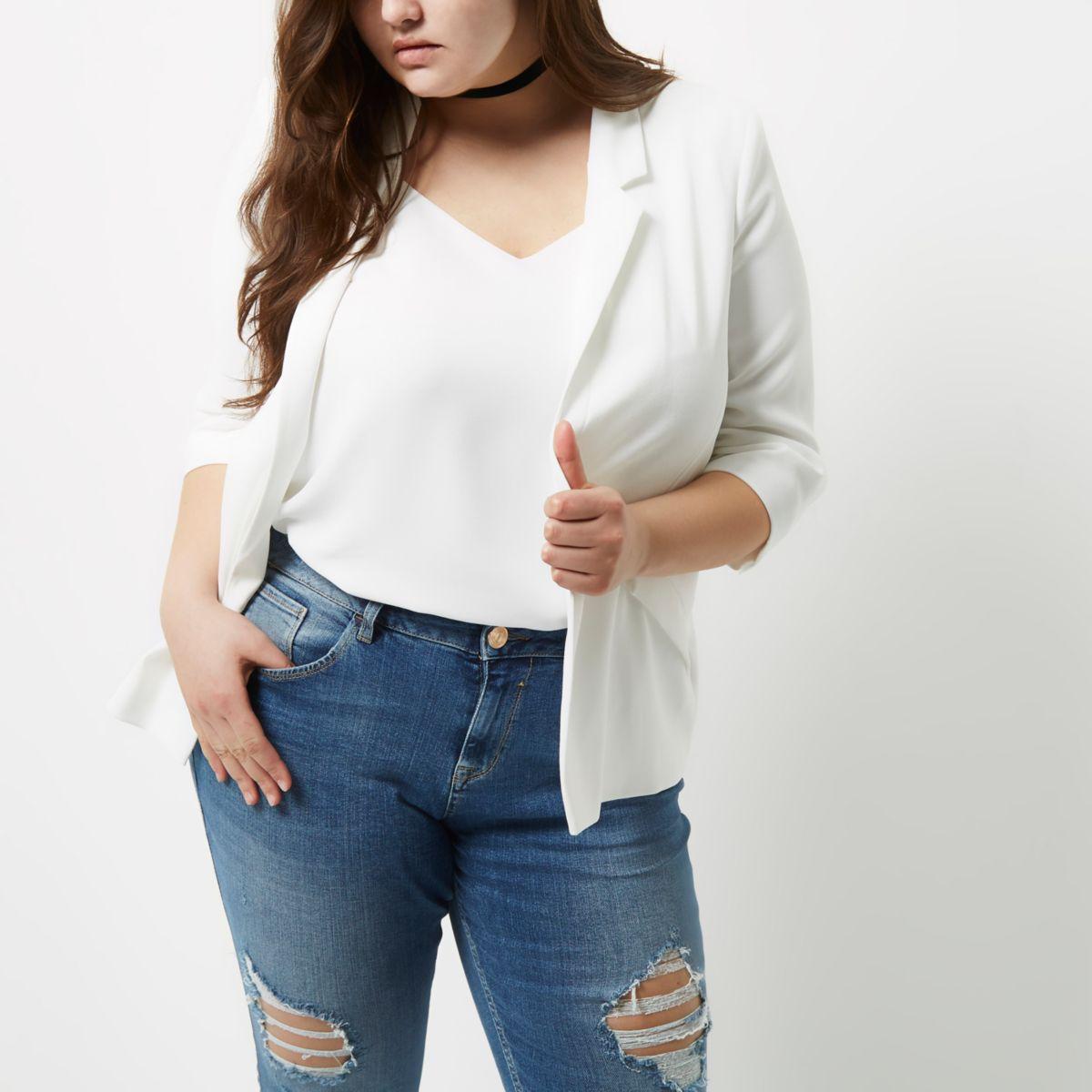 Plus – Blazer blanc à manches froncées