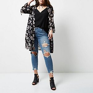 Plus black floral print duster coat