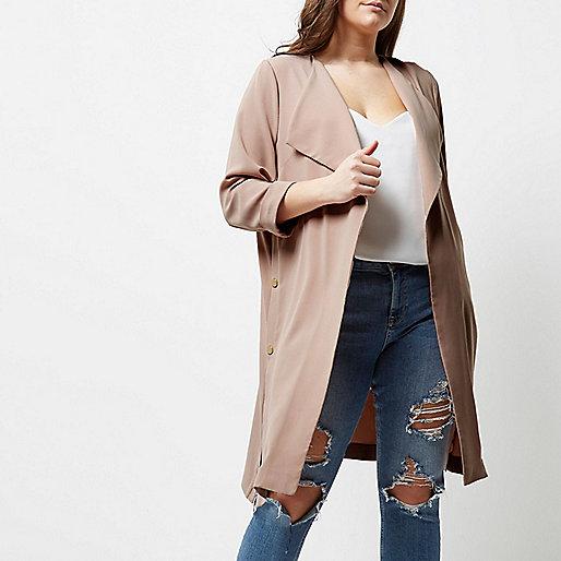 Plus light pink popper duster coat