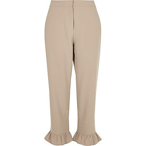 Beige frill hem cropped pants