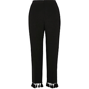 Black jacquard tassel cropped pants