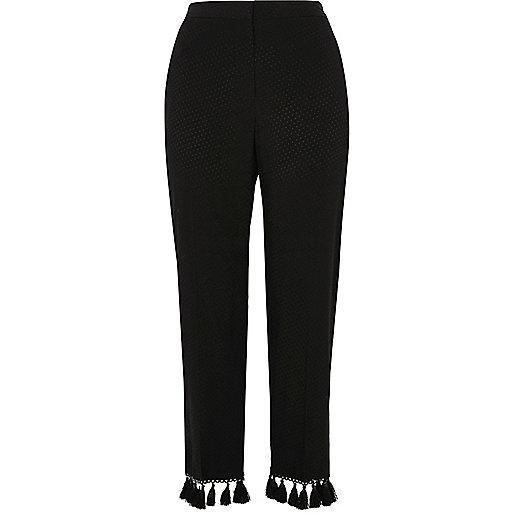 Black jacquard tassel cropped pants