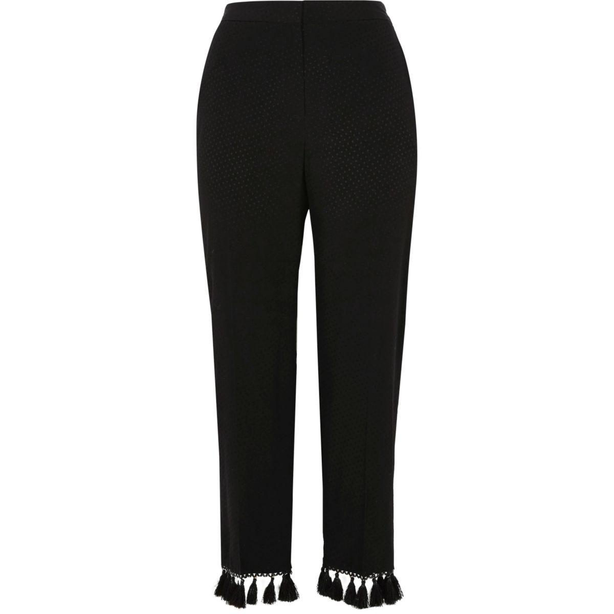 Zwarte jacquard cropped broek met kwastjes