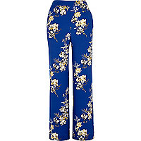Blue floral print wide leg pants
