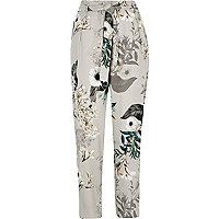 Grey floral tie waist tapered pants