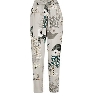 Grey floral tie waist tapered pants