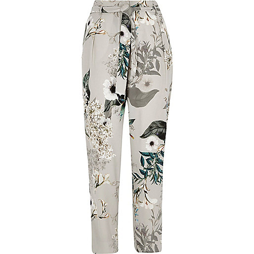 Grey floral tie waist tapered trousers