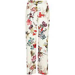 White floral print wide leg pants