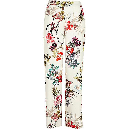 White floral print wide leg pants