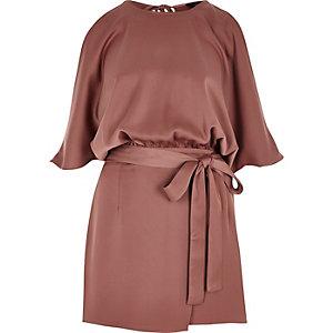 Copper tie waist cold shoulder playsuit