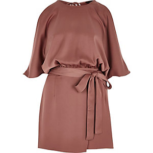Copper tie waist cold shoulder romper