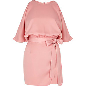 Pink tie waist cold shoulder playsuit