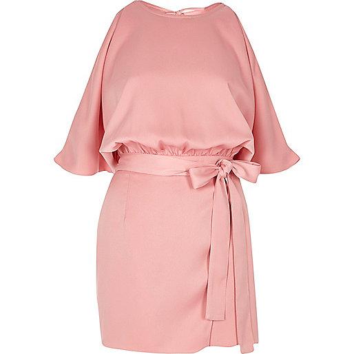 Pink tie waist cold shoulder romper