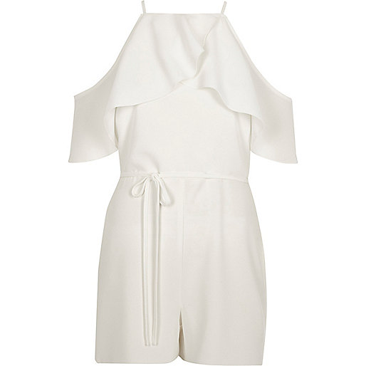 White frill cold shoulder tie waist playsuit