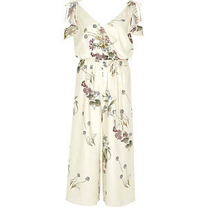 Cream floral cold shoulder culotte jumpsuit