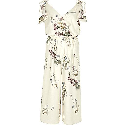 Cream floral cold shoulder culotte jumpsuit