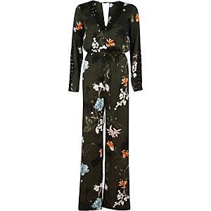 Kakigroene jumpsuit met wijde pijpen en bloemenprint