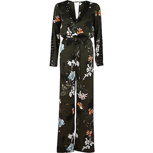 Khaki green floral wide leg jumpsuit