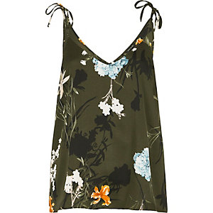 Khaki green floral bow shoulder cami top