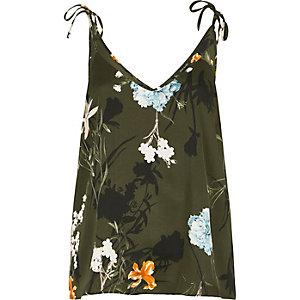 Khaki green floral bow shoulder cami top