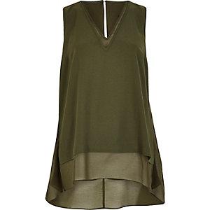Khaki chiffon layered vest