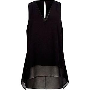 Black chiffon double layer hanky hem vest