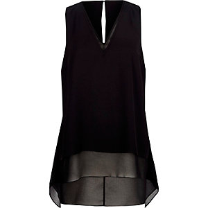 Black chiffon double layer hanky hem tank