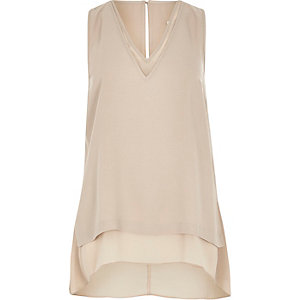 Cream chiffon double layer hanky hem tank