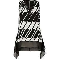 Black and white chiffon layer vest